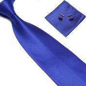 New Royal Blue Woven Satin Men's Tie with Matching Pocket Square & Cufflinks