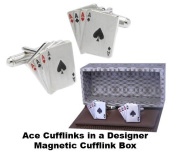 Mens Designer Poker Card Cufflinks - Four Aces Cufflinks - Gift Boxed