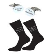 High Quality Oval Trust Me I'm a Plumber Black Socks & Oval Cufflinks
