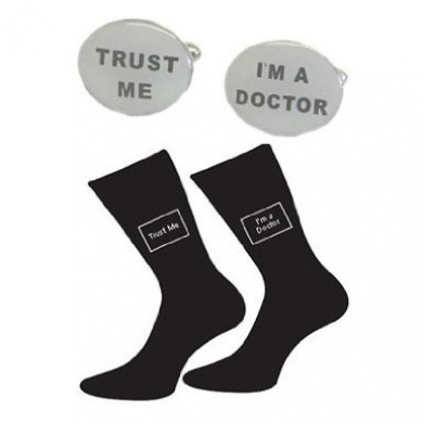 Trust me I'm a Doctor Cotton Rich Socks & Oval Doctor Cufflinks