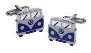 Navy Blue Camper Van Campervan Design Cufflinks in Gift Box - Onyx-Art London CK714