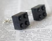 LEGO JEWELLERY CUFFLINKS in BLACK KITSCH EMO PUNK UNUSUAL GIFT IDEA