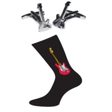 Pair of Electric Guitar Design Cotton Rich Socks & Electric Guitar Cufflinks