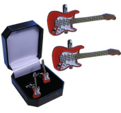 Guitar Cufflinks - Red and White Electric Guitar Cufflinks