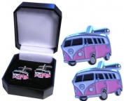 Pink Camper Van Cufflinks