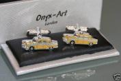 Novelty Mens Cufflinks - Yellow Taxi checker cab
