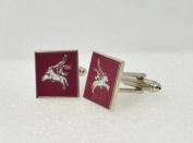 British Pegasus Maroon Cufflinks with a Presentation Box