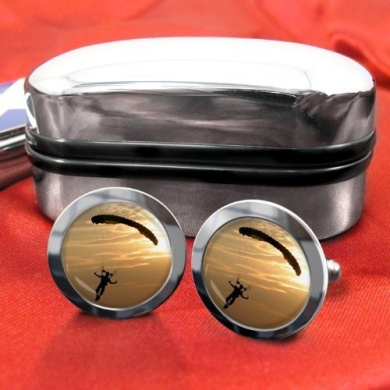 Skydiving Parachute Mens Cufflinks with Chrome Gift Box