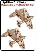 Spitfire Cufflinks - Gold Colour Spitfire Cufflinks by Kitsch Cufflinks