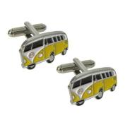 KC Yellow Camper Van Cufflinks by Jemz Cufflinks - Gift Boxed
