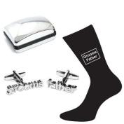 Grooms Father Wedding Silver Plated Cufflinks & Socks Set