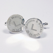 Engraved L Plate Silver Plated Round Just Married Cufflinks Gift for Groom Wedding Day