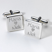Engraved Loving Couples Cufflinks - Square ~ Wedding Anniversary Valentines