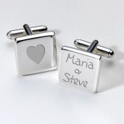 Engraved Heart & Names Cufflinks - Square ~ Anniversary Wedding Valentines
