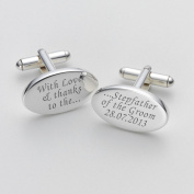 Engraved Love & Thanks - Stepfather of the Groom Cufflinks