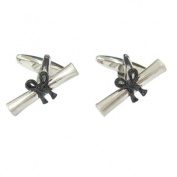 Dalaco Rhodium Plated Graduation Scroll Cufflinks