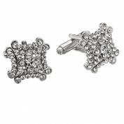. Crystal Square Cufflinks by Gemini London. Made with . Crystal and Rhodium Plated Silver Finish.