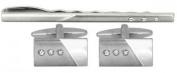 Brushed/Shiny + 3 Crystals Cufflink & Tie Slide Set