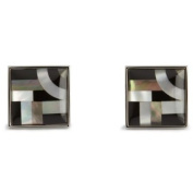 """""""Onyx / Mother Of Pearl Bauhaus Lines Cufflinks by Simon Carter"""""""
