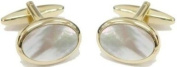 Gold Plated Mother of Pearl Oval Cufflinks by David Van Hagen