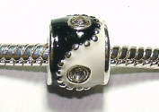 Yin Yang / Enamel & Crystal - Silver Plated Charm Bead - fits Pandora, Chamilia etc style Bracelets - SpangleBead