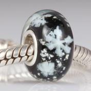 Black Glass / Snowflakes - Sterling Silver Core Charm Bead - fits Pandora, Chamilia etc style Bracelets - SpangleBead