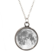 Silver Plated Chain Necklace with Moon design Pendant