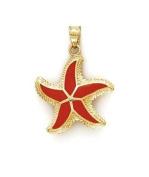 14ct Enamel Starfish Pendant - JewelryWeb