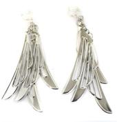 Blade Chandelier Silver Tone Fashion Earrings Costume Jewellery Clip On Womens Girls Clipon