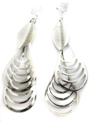 Two Large Drops Chandelier Silver Tone Fashion Earrings Costume Jewellery Clip On Womens Girls Clipon