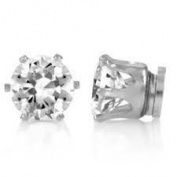 9mm CZ Cubic Zirconia Stone Magnetic Round Fashion Earrings Jewellery