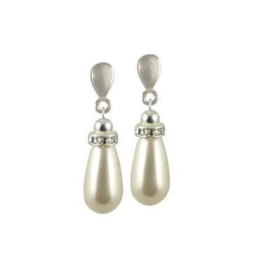 Beaumont White. Teardrop Pearl Clip On Earrings (Silver)