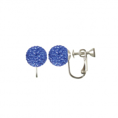 Pirouette Sapphire Diamante Silver Stud Screw Back Clip On Earrings