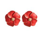 Pansy Red Enamel Flower Clip On Earrings