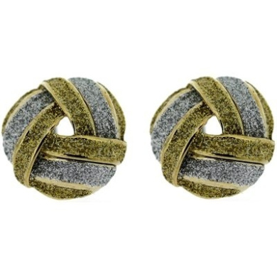 Clip On Earrings Store Silver & Gold Glitter Round Knot Gold Plated Earrings