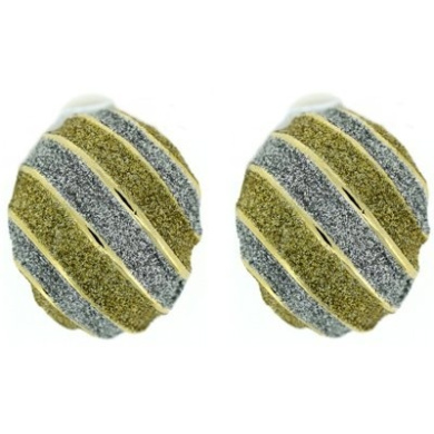 Clip On Earrings Store Silver & Gold Glitter Oval Stripe Gold Plated Clip On Ear