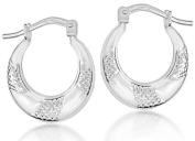 Sterling Silver Patterned Creole Earrings