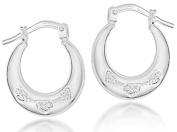 Sterling Silver Heart Creole Earrings