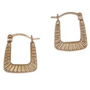 9ct Gold Ribbed Handbag Shape Creole Earrings