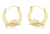 9ct Yellow Gold Double Dolphin Creole Earrings