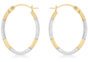 9ct Two Colour Gold Diamond Cut Oval Creole Earrings