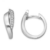 Sterling Silver Ladies Cubic Zirconia Brushed Hinged Hoop Earrings MSM143E