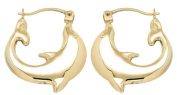 9ct Yellow Gold Dolphin Creole Earrings
