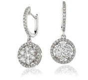 1.10CT Certified G/VS2 Roun Brilliant Cut Cluster with Halo Diamond Hoop Earrings in 18K White Gold
