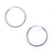 10mm Sterling silver Hoop Earrings - Plain Simple Small Hoops - Hindge Top