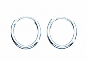 Basics Sterling Silver Plain 10mm Hoop Earrings