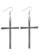 Silver Cross Earrings Large Dangle