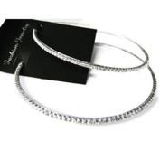 fi9® LARGE 9 CM DIAMANTE HOOP EARRINGS For Pierced Ears