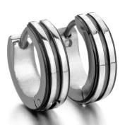Justeel Men Stainless Steel Stud Earrings Silver Black Hoop (with Gift Bag) (Width