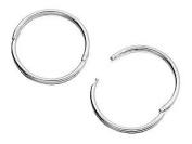 Silver Hinged Hoop Earrings - 13mm
